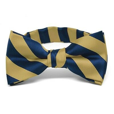 Boys' Pale Gold and Twilight Blue Striped Bow Tie