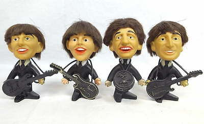 VTG 1964 The Beatles Set of Hard Body Remco Dolls w/ Instruments Rare