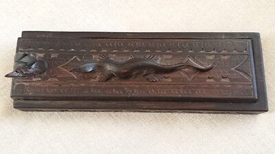 Chinese Antique Wood Carved Box With 4 Pair Carved Chopstick Head