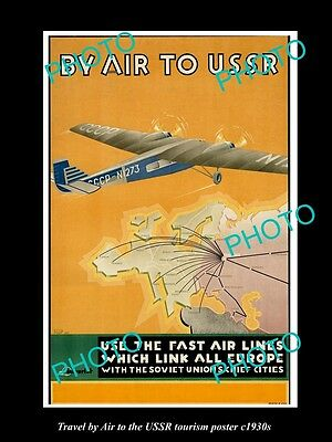 OLD LARGE HISTORIC PHOTO OF 1930s TRAVEL TO THE USSR RUSSIA BY AIR POSTER