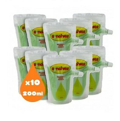 200ml Sinchies Food Pouches for Children (10 pack)+1L Sinchies pouch for filling
