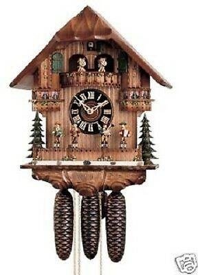 RARE Hones 8671T Moving Band 8 Day Musical Chalet Cuckoo Clock