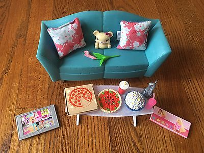 2007 Mattel Barbie MY HOUSE Doll Furniture LIVING ROOM BLUE COUCH COFFEE TABLE