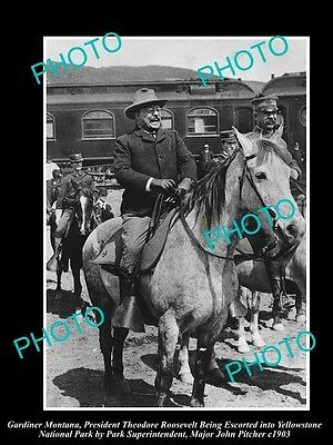 Old Large Historic Photo Of Gardiner Montana, President T Roosevelt Arrives 1903