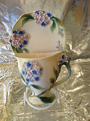 Franz Porcelain Hydrangea Cup & Saucer Mint Condition Displayed In Cabinet