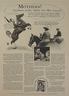1933 Tom Mix Cowboy Horse Roping Ralston Cereal Print Ad