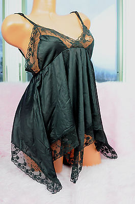 VTG JCPenney Black Fancy Scalloped Lace Smooth Nylon Camisole Nightie Top sz M