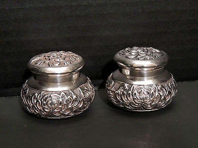 CHINESE EXPORT STERLING SILVER Tea Caddies/ Spice Pots - Late 1800s