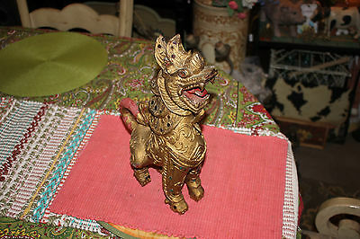 Antique Chinese Wood Carving Foo Fu Dog W/Gilded Gold Color-Buddhism Spiritual-2