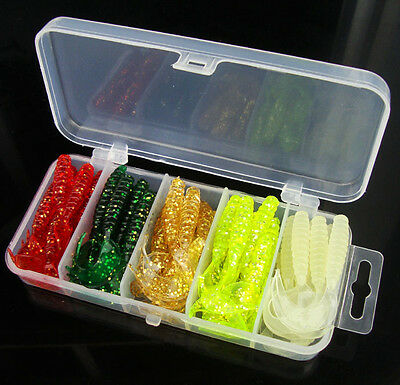 50pcs Lot Plastic Fishing Lures Box Soft bait tail spot maggots Soft Lure Baits