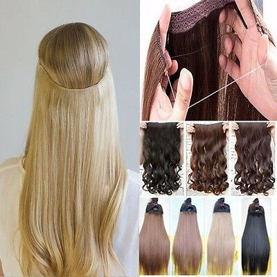 Real Thick Clip in Hair Extensions Wire Piece Straight Curly 1PCS Brown F1Z