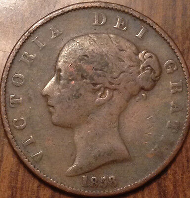 1858 Uk Gb Great Britain Half Penny In Good Condition
