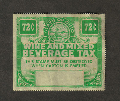 RJKstamps STATE OF OHIO - WINE and MIXED BEVERAGE TAX STAMP, 72¢