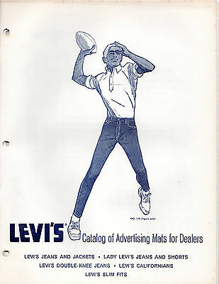 """1963 Levi Strauss advertising """"Catalog of Advertising Mats for Dealers""""Newspaper"""