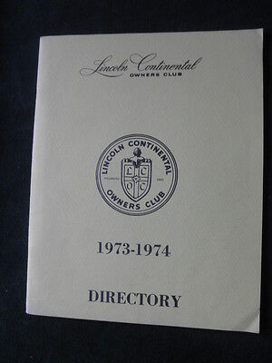 Lincoln Continental Owners Club Directory 1973-1974
