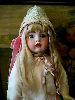 Antique French Bisque Head Bru Doll Repro W/ French Composition Body 26""