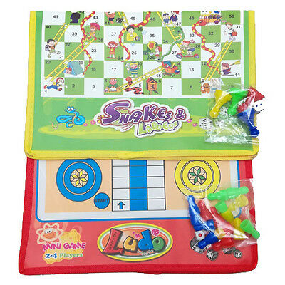 Ludo and Snakes & Ladders Game Traditional Family Outdoor Travel Game Gift New