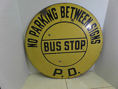 Vintage Rare Porcelain Double Sided Bus Stop Sign