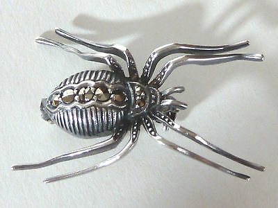 """Silver Spider Pin With Marcasites, Marked """"830M"""""""