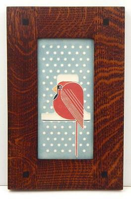 Framed Arts and Crafts Motawi 4x8 Cool Cardinal Tile Charley Harper E222