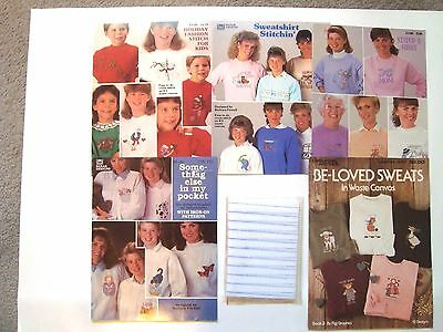 """Lot of 5 Cross Stitch for Sweatshirts Leaflets inc. 5 pieces 9x12"""" waste canvas"""