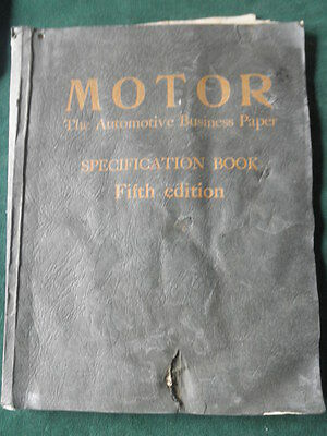 Motor Specification Book for 1928 Automobiles