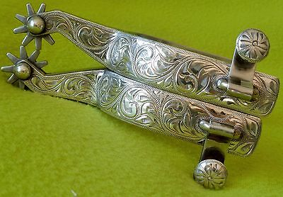 GORGEOUS 1960's Vintage FLEMING Hand Engraved STERLING Silver Show SPURS Ex COND