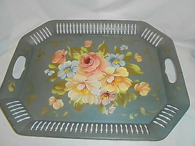 Antique vintage tin tole toleware painted butlers serving tray