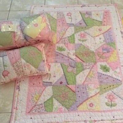 Pottery Barn Kids Pink Gingham Michelle Quilted Crib Infant Quilt