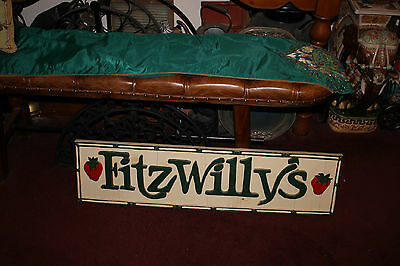 Vintage Fitzwilly's Hand Made Wood Restaurant Sign-Folk Art Advertisement Sign