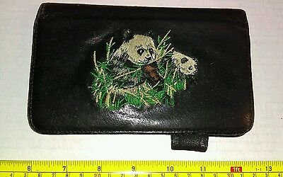 Vintage? Embroidered Panda Leather? Credit Card Wallet Rare