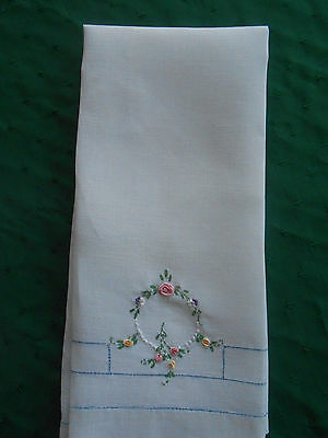 Large White Linen Towel With French Knot Hand Embroidery, Vintage 1920
