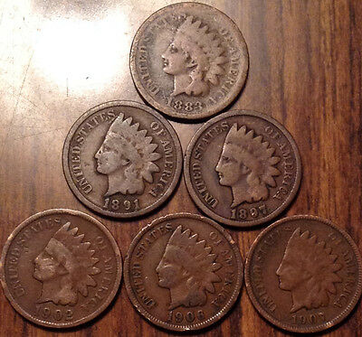 1883-1907 Lot Of 6 Usa Indian Head Small Cents Mixed Date