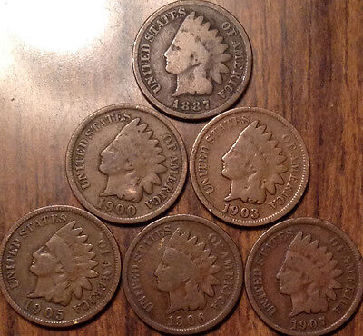 1887-1907 Lot Of 6 Usa Indian Head Small Cents Mixed Date