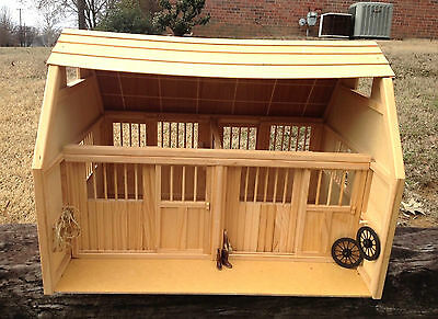 Large Toy Wooden Breyer Horse Barn Two Stalls Sliding Stall Doors Tack Pegs FUN