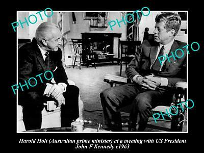 Old Large Historical Photo Of Australia Prime Minister Harold Holt With Jfk 1963