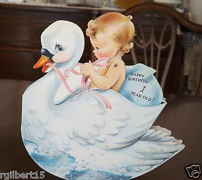 Vintage Greeting Card Baby Rides Swan Rock N Play Card Coutts Birthday Rocking