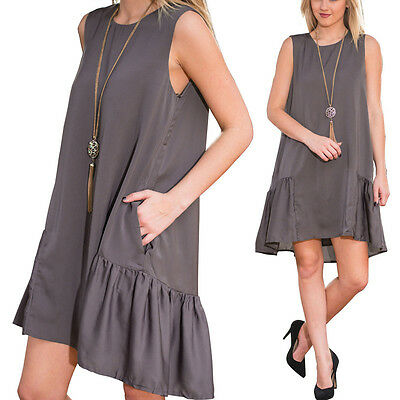 Summer Women Sleeveless Vest Tops Casual Loose Evening Party Cocktail Mini Dress