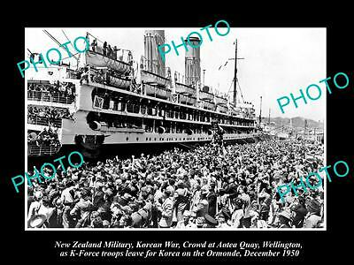 OLD LARGE HISTORIC PHOTO OF KOREAN WAR, NEW ZEALAND TROOPS AT WELLINGTON c1950
