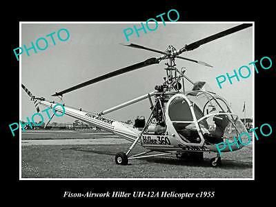 OLD LARGE HISTORIC PHOTO OF FISON AIRWORK HILLER UH-12A HELICOPTER c1955