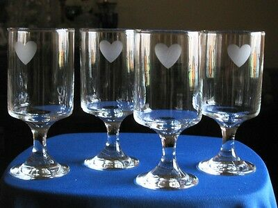 4) Frosted HEARTS HEART Wine Glasses HEART Goblets Clear Glass Frosted Heart 6""