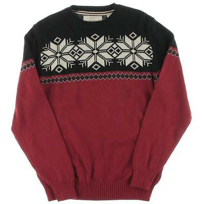 Weatherproof 1407 Mens Red Fair Isle Crew Neck Pullover Sweater M BHFO