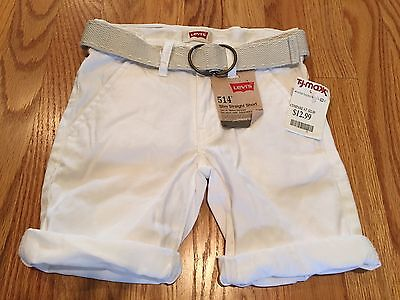 NWT LEVI'S 100% Cotton Rolled Cuff Shorts Belt Included, Size 4
