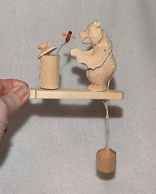 """Russian Bear toy-bear swatting at a bee, cute & well made-4"""" tall & 8"""" w/strings"""