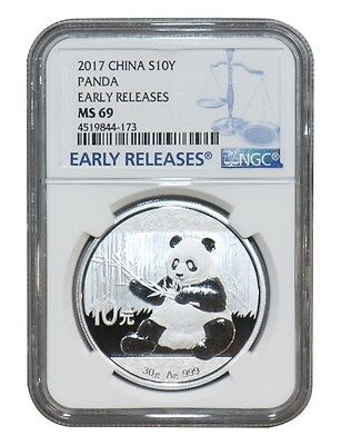 China 10 Yuan, 30 g Silver Coin, 2017, Mint, Chinese Panda, NGC MS-69