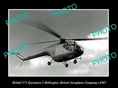 OLD LARGE HISTORIC PHOTO OF BRISTOL AEROPLANE Co 171 SYCAMORE HELICOPTER c1947