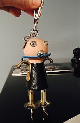 Auth Prada Sally Robot Charm Keychain Keyring Wood And Saffiano Leather!