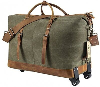 LL BEAN Sportsman's Canvas / Leather Trim Rolling Carry On ...