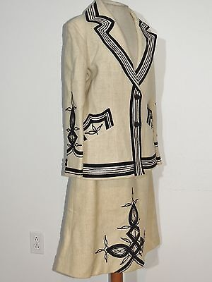 1970's Vintage  Ivory Wool Suit w Appliques MED w- 27