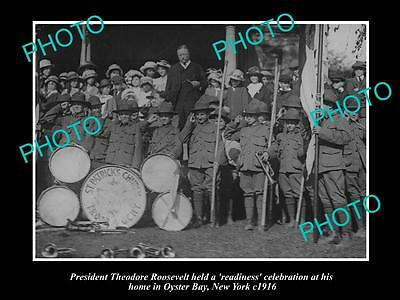 Old Large Historic Photo Of President Thoedore Roosevelt At Oyster Bay. Ny 1916